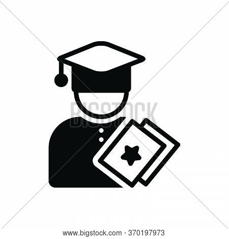 Black Solid Icon For Education  Eligibility  Fresher  Freshman  Man  Person  Qualification