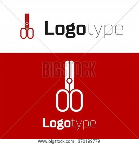 Red Scissors Hairdresser Icon Isolated On White Background. Hairdresser, Fashion Salon And Barber Si
