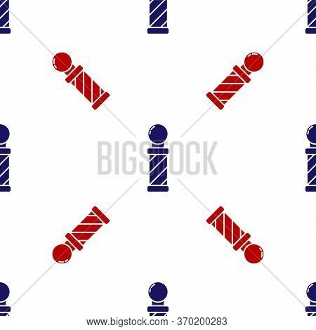 Blue And Red Classic Barber Shop Pole Icon Isolated Seamless Pattern On White Background. Barbershop