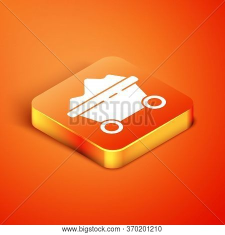 Isometric Coal Mine Trolley Icon Isolated On Orange Background. Factory Coal Mine Trolley. Vector Il