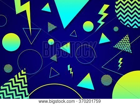 A Green, Blue And Cyan Retro Vaporwave 90's Style Random Geometric Shapes With Vibrant Neon Color Pa