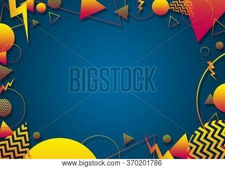 A Turquoise, Orange And Yellow Retro Vaporwave 90's Style Random Geometric Shapes Border With Vibran