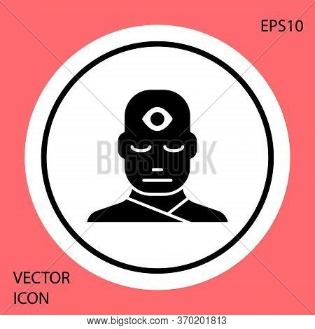 Black Man With Third Eye Icon Isolated On Red Background. The Concept Of Meditation, Vision Of Energ