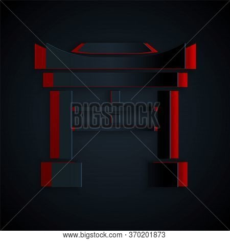 Paper Cut Japan Gate Icon Isolated On Black Background. Torii Gate Sign. Japanese Traditional Classi