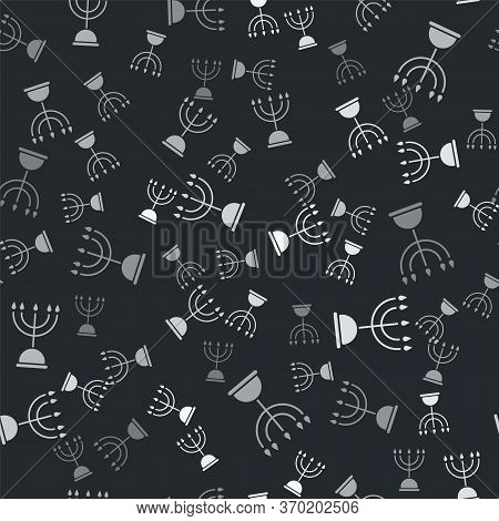 Grey Hanukkah Menorah Icon Isolated Seamless Pattern On Black Background. Hanukkah Traditional Symbo