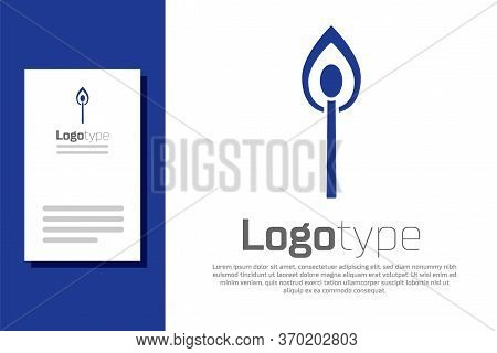 Blue Burning Match With Fire Icon Isolated On White Background. Match With Fire. Matches Sign. Logo