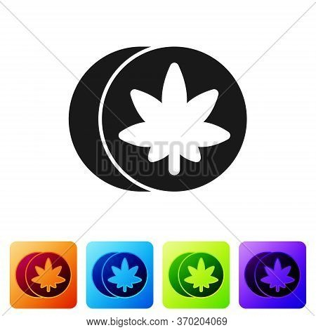 Black Herbal Ecstasy Tablets Icon Isolated On White Background. Set Icons In Color Square Buttons. V