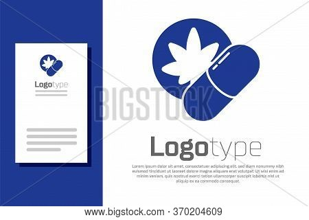 Blue Herbal Ecstasy Tablets Icon Isolated On White Background. Logo Design Template Element. Vector