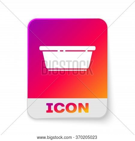 White Plastic Basin Icon Isolated On White Background. Bowl With Water. Washing Clothes, Cleaning Eq