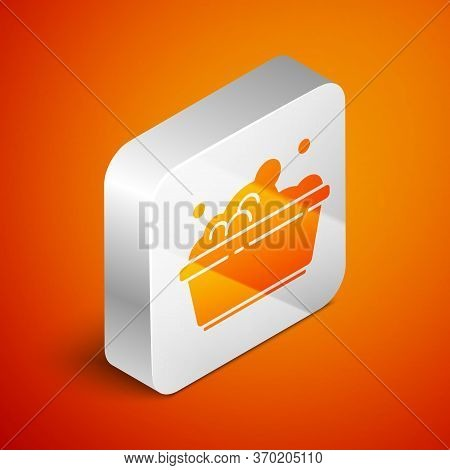 Isometric Plastic Basin With Soap Suds Icon Isolated On Orange Background. Bowl With Water. Washing