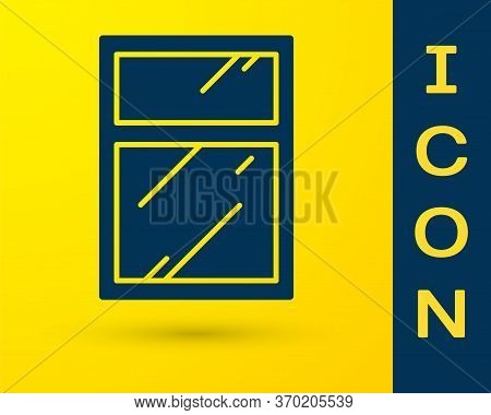 Blue Cleaning Service For Windows Icon Isolated On Yellow Background. Squeegee, Scraper, Wiper. Vect