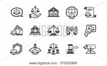 Court Icons Set. Lawyer, Scales Of Justice And Judge. Hammer, Law And Petition Document Set Icons. J