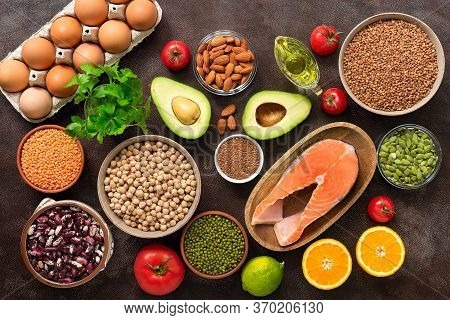 Healthy Balanced Diet Food Background. Organic Products For Clean Nutrition. Fruits, Vegetables, Leg