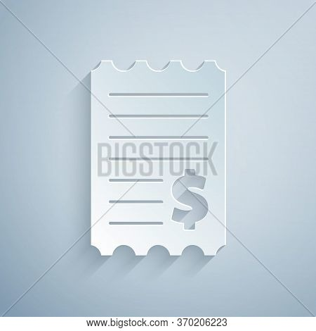 Paper Cut Paper Check And Financial Check Icon Isolated On Grey Background. Paper Print Check, Shop