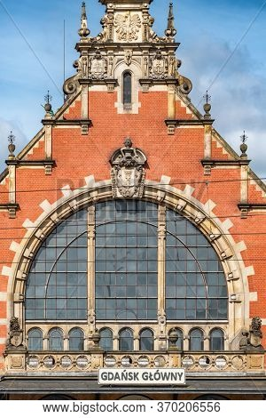 Gdansk, Poland - July 22, 2019: Detail of the facade of Gdansk Glowny main railway station in Gdansk, Poland