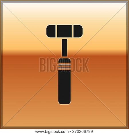 Black Neurology Reflex Hammer Icon Isolated On Gold Background. Vector Illustration