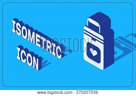 Isometric Cooler Box For Human Organs Transportation Icon Isolated On Blue Background. Organ Transpl