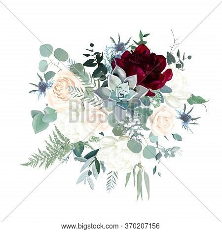Silver Sage Green, Pink Blush, Burgundy Red And White Flowers Vector Design Bouquet. Peony, Rose, Su