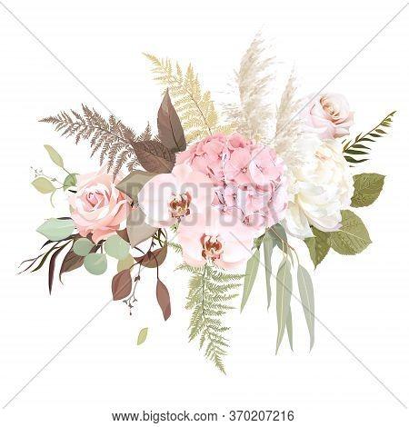 Luxurious Beige Trendy Vector Design Floral Bouquet. Pastel Pink Rose, Creamy Peony, Blush Hydrangea