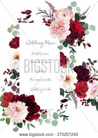 Classic Luxurious Red Roses, Marsala Carnation, White Peony, Berry, Ranunculus, Dusty Pink Dahlia, E