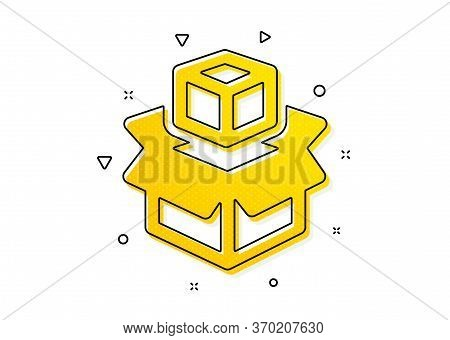 Delivery Parcel Sign. Box Icon. Packing Boxes Symbol. Yellow Circles Pattern. Classic Packing Boxes
