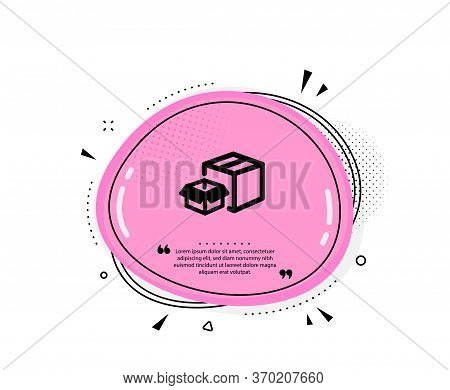 Packing Boxes Icon. Quote Speech Bubble. Delivery Parcel Sign. Cargo Box Symbol. Quotation Marks. Cl