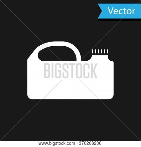 White Plastic Canister For Motor Machine Oil Icon Isolated On Black Background. Oil Gallon. Oil Chan