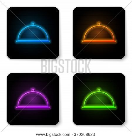 Glowing Neon Covered With A Tray Of Food Icon Isolated On White Background. Tray And Lid. Restaurant