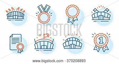 Certificate, Sports Stadium And Reward Signs. Sports Arena, Arena And Success Line Icons Set. Honor