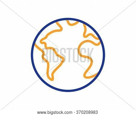 World Planet Line Icon. Web Internet Sign. Global Marketing Symbol. Colorful Thin Line Outline Conce