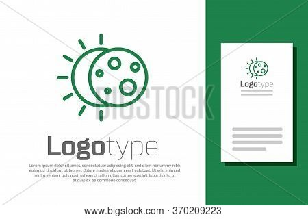 Green Line Eclipse Of The Sun Icon Isolated On White Background. Total Sonar Eclipse. Logo Design Te