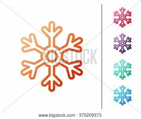Red Line Snowflake Icon Isolated On White Background. Set Color Icons. Vector Illustration