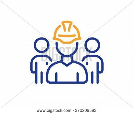 Engineering Team Line Icon. Engineer Or Architect Group Sign. Construction Helmet Symbol. Colorful T