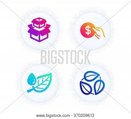 Packing Boxes, Leaf Dew And Payment Icons Simple Set. Button With Halftone Dots. Leaves Sign. Delive