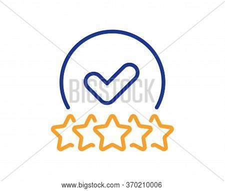 Rating Stars Line Icon. Approved Ranking Sign. Verified High Rank Symbol. Colorful Thin Line Outline
