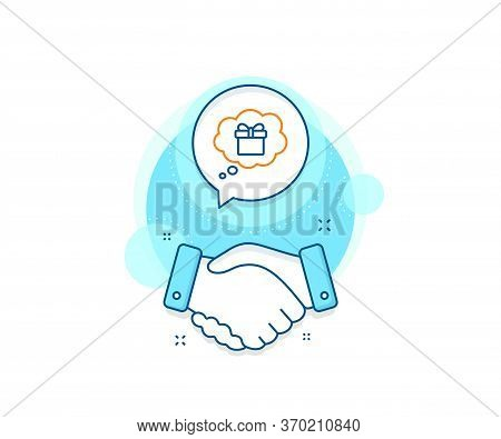 Present Box In Comic Speech Bubble Sign. Handshake Deal Complex Icon. Dreaming Of Gift Line Icon. Bi