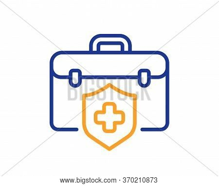 Medical Insurance Line Icon. Health Coverage Sign. Protection Policy Symbol. Colorful Thin Line Outl