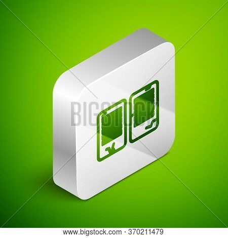 Isometric Line The Commandments Icon Isolated On Green Background. Gods Law Concept. Silver Square B
