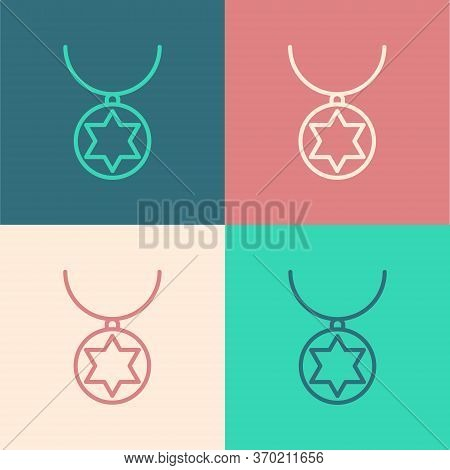 Pop Art Line Star Of David Necklace On Chain Icon Isolated On Color Background. Jewish Religion. Sym