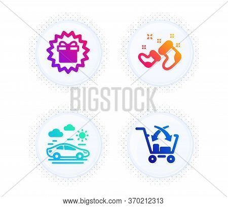 Santa Boots, Surprise Gift And Car Travel Icons Simple Set. Button With Halftone Dots. Cross Sell Si