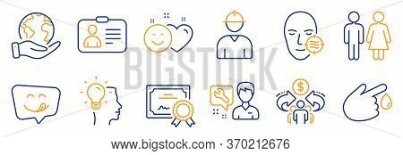 Set Of People Icons, Such As Repairman, Blood Donation. Certificate, Save Planet. Idea, Yummy Smile,