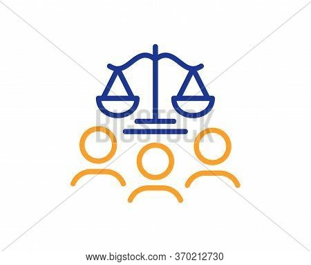 Court Jury Line Icon. Justice Scales Sign. Judgement Law Symbol. Colorful Thin Line Outline Concept.