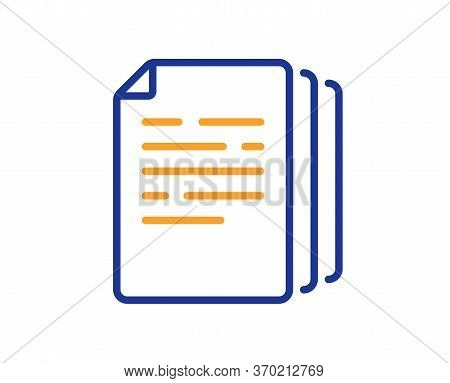 Copy Documents Line Icon. Doc File Duplicates Sign. Office Note Symbol. Colorful Thin Line Outline C