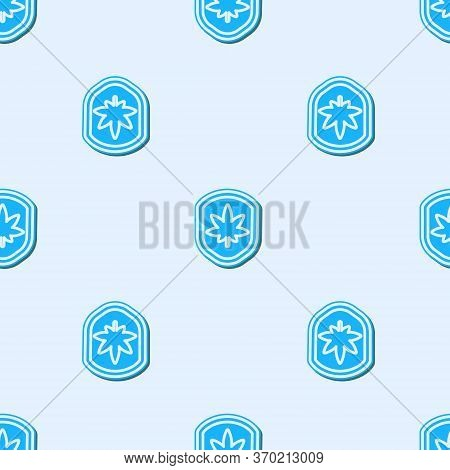Blue Line Shield And Marijuana Or Cannabis Leaf Icon Isolated Seamless Pattern On Grey Background. M