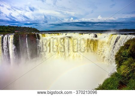The most full-flowing waterfall in the world on the Parana River. The Devil's throat /Garganta del Diablo/. Concept of extreme and active tourism