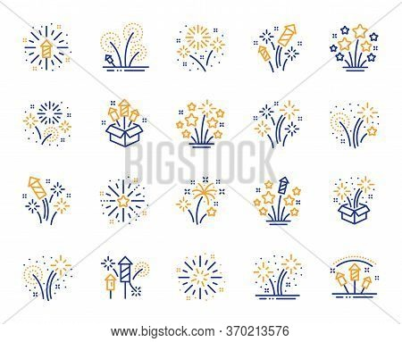 Firework Salute Line Icons. Carnival Celebration, Christmas Explosive Pyrotechnic And Festival Light