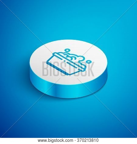 Isometric Line Plastic Basin With Soap Suds Icon Isolated On Blue Background. Bowl With Water. Washi