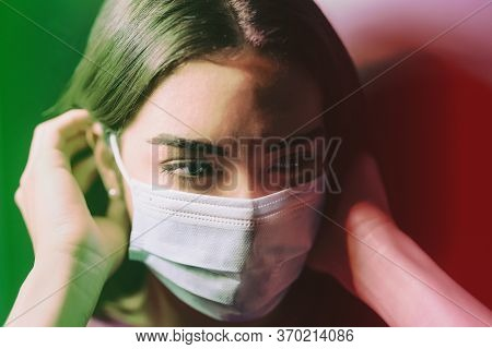 Young Woman Wearing Face Surgical Mask Against Corona Virus - Fear Girl Quarantine For Preventing Pa