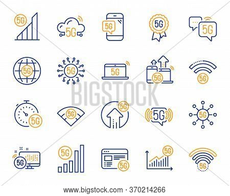 5g Technology Line Icons. Mobile Network, Fast Internet, Phone Connection. Hotspot Signal, Mobile Te