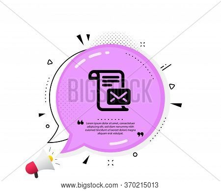 Mail Letter Icon. Quote Speech Bubble. Read Message Correspondence Sign. E-mail Symbol. Quotation Ma